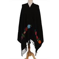 Cotton shawl, 'Nocturnal Party' - Floral Embroidered Black Cotton Shawl from Mexico