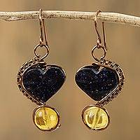 Amber and aventurine dangle earrings Dark Hearts (Mexico)