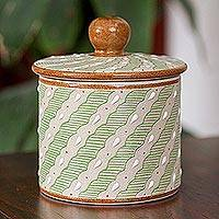 Ceramic decorative container, 'Cloud Crossing in Green' - Green Striped Ceramic Cylindrical Decorative Container