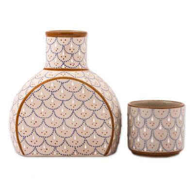Grey and Beige Ceramic Decanter with Cup Lid (2-Piece Set)
