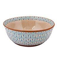 Ceramic serving bowl, 'Chevron Tears' - Handcrafted Blue Chevron Motif Ceramic Salad or Serving Bowl