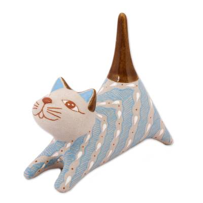Handcrafted Blue and Ivory Striped Ceramic Cat Ring Holder