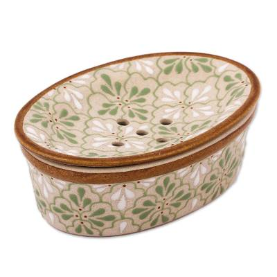 Handcrafted Green and White Floral Motif Ceramic Soap Dish