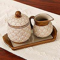 Ceramic sugar bowl and creamer, 'Terracotta Feathers' (3-piece set) - Beige Ceramic Sugar Bowl and Creamer 3-Piece Set with Tray