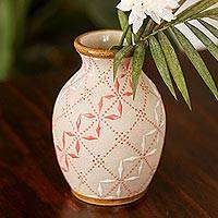 Ceramic vase, 'Windmill Trellis Vessel' - White and Paprika Red Trellis Motif Ceramic Flower Vase
