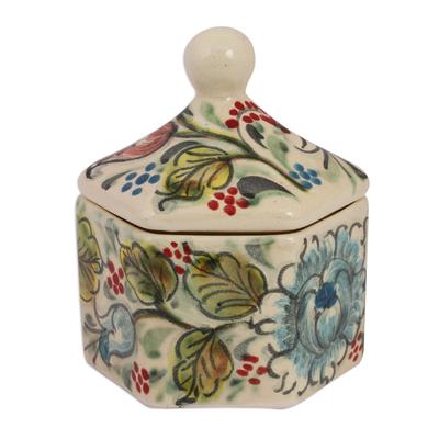 Floral Talavera Ceramic Decorative Jar from Mexico