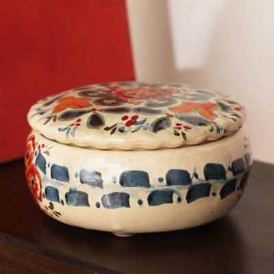 Ceramic decorative jar, 'Talavera Mystery' - Talavera-Style Ceramic Decorative Jar Crafted in Mexico