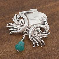 Sterling silver and agate pendant, 'Our Encounter' - Romantic Agate Pendant Necklace Crafted in Mexico