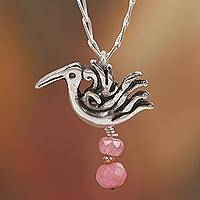 Agate pendant necklace, 'Precious Liberty' - Pink Agate Bird Pendant Necklace from Mexico