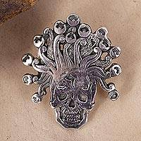 Sterling silver pendant, 'Miquiztli' - Sterling Silver Aztec God Pendant from Mexico