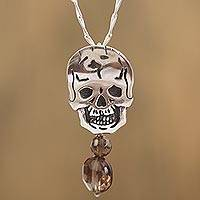 Smoky quartz pendant necklace, 'Life Goes On' - Smoky Quartz Skull Pendant Necklace from Mexico