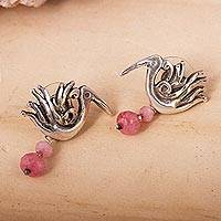 Agate dangle earrings, 'Precious Liberty' - Pink Agate Bird Dangle Earrings from Mexico