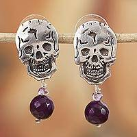 Agate and amethyst dangle earrings, 'Transition' - Agate and Amethyst Skull Dangle Earrings from Mexico