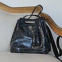 Leather handbag, 'Meditative Beauty in Black' - Handmade Black Leather Handbag from Mexico