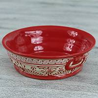 Ceramic serving bowl, 'Red Basin' (8 inch) - Handmade Ceramic Serving Bowl from Mexico (8 in.)