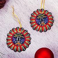 Ceramic ornaments, 'Destiny Sun' (pair) - Hand-Painted Ceramic Sun Ornaments in Indigo (Pair)