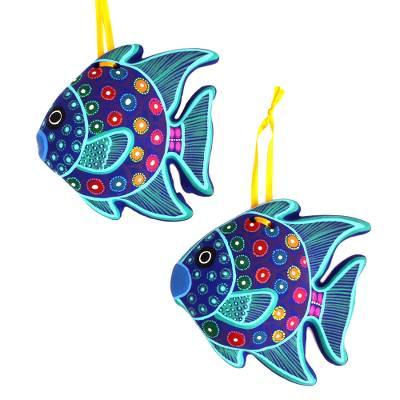 Artisan Crafted Ceramic Fish Ornaments from Mexico (Pair)