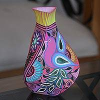 Hand-painted decorative vase, 'Childhood Fantasy' - Hand-Painted Eco-Friendly Decorative Vase in Pink
