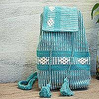 Cotton cell phone bag, 'Emerald Passion' - Handwoven Cotton Cell Phone Bag in Emerald from Mexico