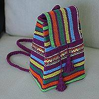 Cotton cell phone bag, 'Mulberry Rainbow' - Handwoven Cotton Cell Phone Bag in Mulberry and Rainbow