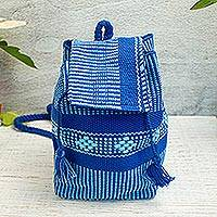 Cotton cell phone bag, 'Geometric Delight in Blue' - Geometric Pattern Cotton Cell Phone Bag in Blue from Mexico