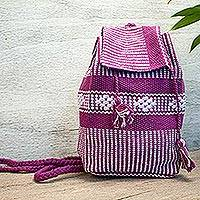 Cotton cell phone bag, 'Geometric Delight in Mauve' - Geometric Pattern Cotton Cell Phone Bag in Purple