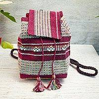 Cotton cell phone bag, 'Magenta Rainbow' - Handwoven Cotton Cell Phone Bag in Magenta and Multicolor