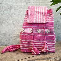 Cotton cell phone bag, 'Fuchsia Love' - Handwoven Cotton Cell Phone Bag in Fuchsia from Mexico