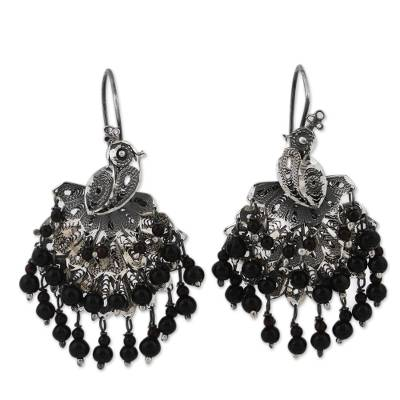 Sterling Silver Filigree and Dark Crystal Waterfall Earrings