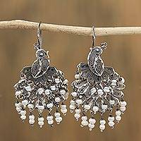 Cultured pearl filigree waterfall earrings, 'Peacock Cascade' - Cultured Pearl Peacock Filigree Waterfall Earrings
