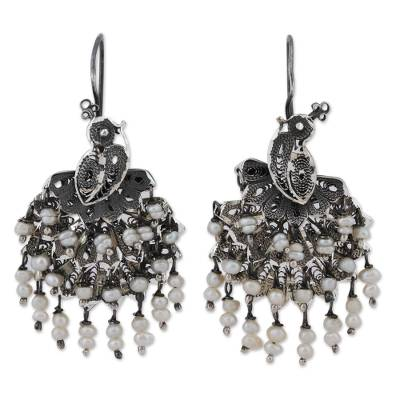 Cultured Pearl Peacock Filigree Waterfall Earrings