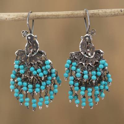 Agate filigree chandelier earrings, 'Peacock Rain' - Blue Agate Filigree Waterfall Earrings from Mexico