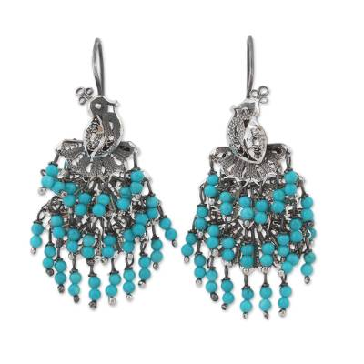 Blue Agate Filigree Waterfall Earrings from Mexico