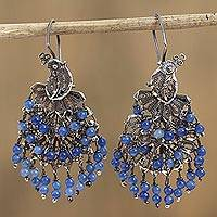 Sterling silver filigree chandelier earrings, 'Cool Peacock' - Blue Crystal Sterling Silver Filigree Chandelier Earrings