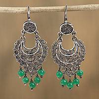 Sterling silver filigree chandelier earrings, 'Crescent Passion in Green' - Sterling Silver Filigree Chandelier Earrings in Green