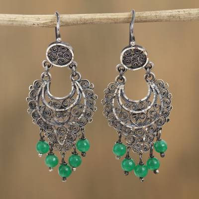 Sterling silver filigree chandelier earrings, Crescent Passion in Green