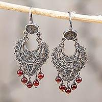 Sterling silver filigree chandelier earrings, 'Crescent Passion in Red' - Sterling Silver Filigree Chandelier Earrings in Red