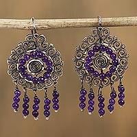 Sterling silver filigree chandelier earrings, 'Mexican Shield in Purple' - Sterling Silver Filigree Chandelier Earrings in Purple