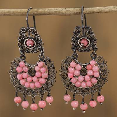Sterling silver filigree chandelier earrings, 'Pink Antiques' - Sterling Silver Filigree Chandelier Earrings in Pink