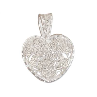Sterling Silver Filigree Heart Pendant from Mexico