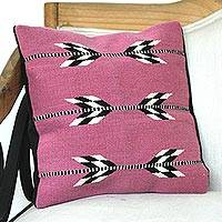 Wool cushion cover, 'Chevron Beauty' - Wool Cushion Cover in Magenta from Mexico