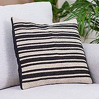 Wool cushion cover, 'Duality Stripes' - Handwoven Striped Wool Cushion Cover from Mexico