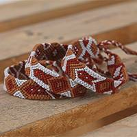 Cotton wristband bracelets, 'Sandy Earth' (set of 3) - Geometric Cotton Wristband Bracelets from Mexico (Set of 3)