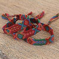 Cotton wristband bracelets, 'Deep Color' (set of 3) - Colorful Cotton Wristband Bracelets from Mexico (Set of 3)