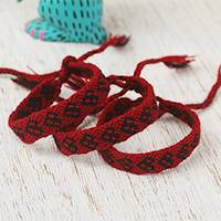 Cotton wristband bracelets, 'Ebony Friendship Geometry' (set of 3) - Cotton Wristband Bracelets in Cherry from Mexico (Set of 3)