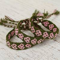 Cotton wristband bracelets, 'Petal Pink Friendship Geometry' (set of 3) - Cotton Wristband Bracelets in Avocado from Mexico (Set of 3)