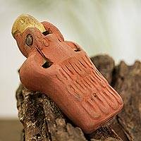 Ceramic ocarina, 'Diving Eagle' - Ceramic Eagle Ocarina Crafted in Mexico