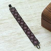 Glass beaded wristband bracelet,