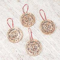 Ceramic ornaments, 'Aztec Calendar' (set of 4) - Aztec Calendar Ceramic Ornaments from Mexico (Set of 4)