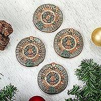 Ceramic ornaments, 'Festive Calendars' (set of 4) - Handmade Ceramic Aztec Calendar Ornaments (Set of 4)